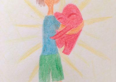 amo coaching Zeichnung Mensch Herz im Arm