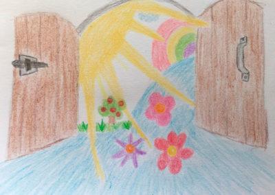 amo-coaching Zeichnung Tür offen Sonnenstrahlen